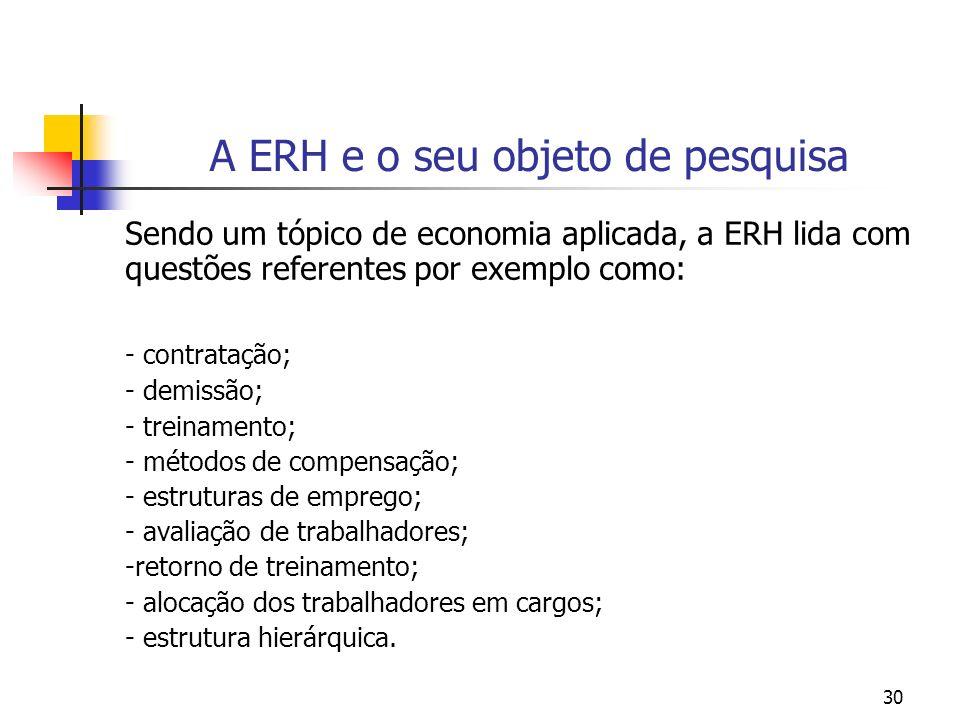 30 A ERH e o seu objeto de pesquisa Sendo um tópico de economia aplicada, a ERH lida com questões referentes por exemplo como: - contratação; - demiss
