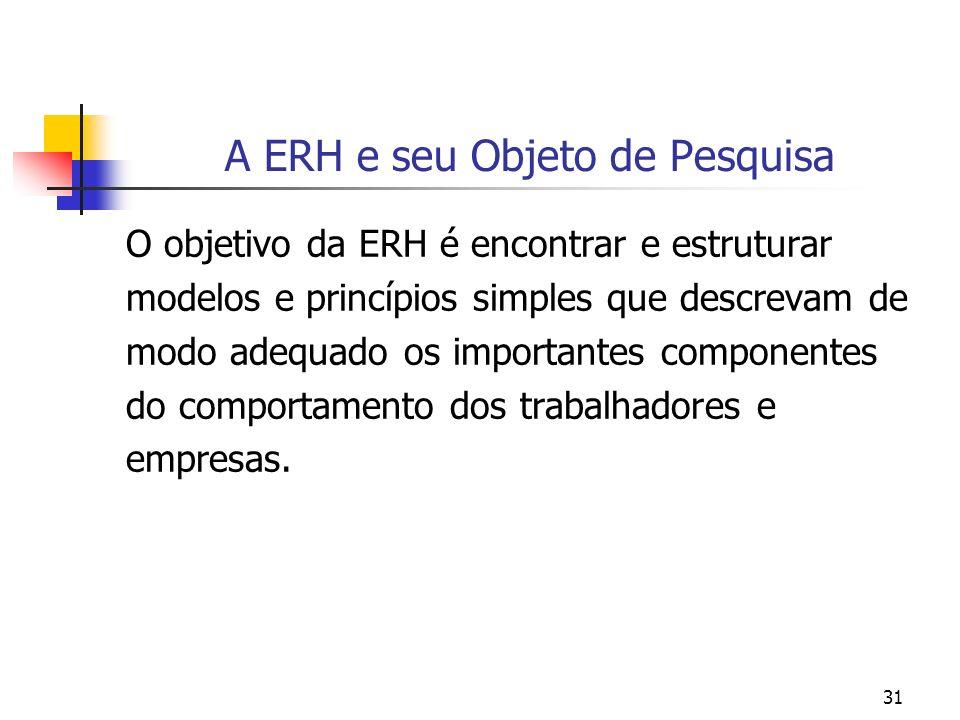 31 A ERH e seu Objeto de Pesquisa O objetivo da ERH é encontrar e estruturar modelos e princípios simples que descrevam de modo adequado os importante