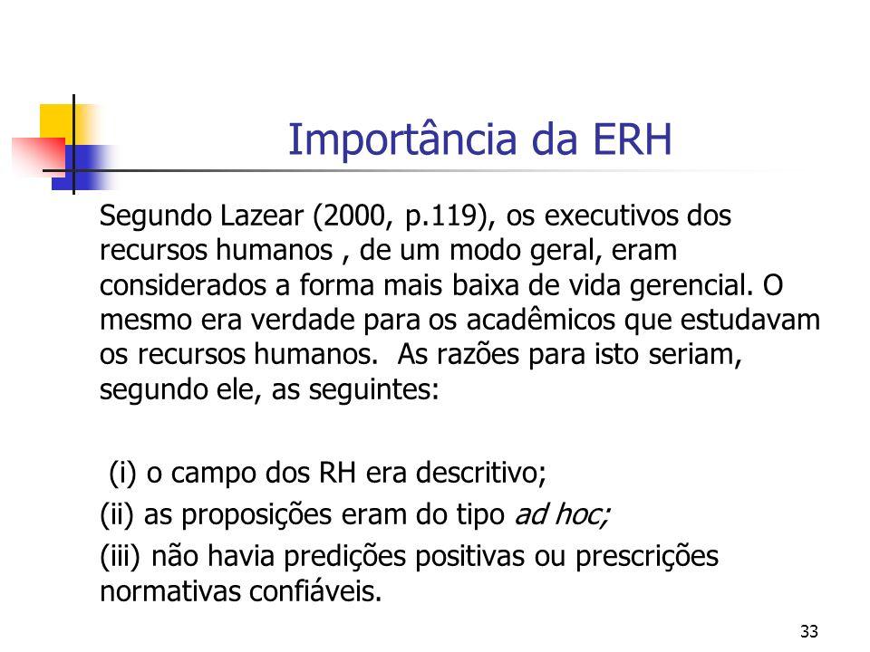 33 Importância da ERH Segundo Lazear (2000, p.119), os executivos dos recursos humanos, de um modo geral, eram considerados a forma mais baixa de vida