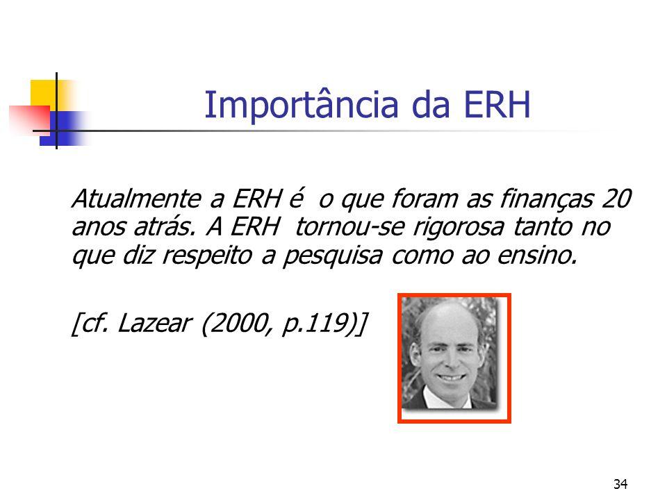 34 Importância da ERH Atualmente a ERH é o que foram as finanças 20 anos atrás. A ERH tornou-se rigorosa tanto no que diz respeito a pesquisa como ao