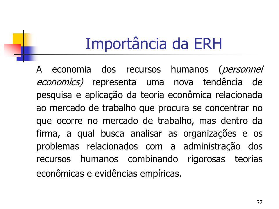 37 Importância da ERH A economia dos recursos humanos (personnel economics) representa uma nova tendência de pesquisa e aplicação da teoria econômica