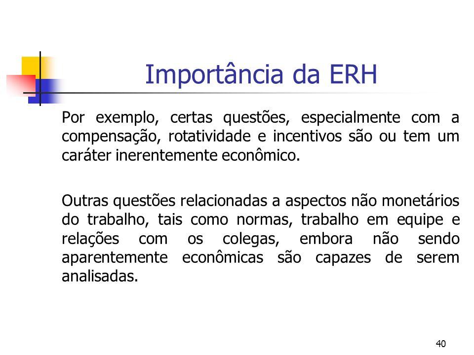 40 Importância da ERH Por exemplo, certas questões, especialmente com a compensação, rotatividade e incentivos são ou tem um caráter inerentemente eco