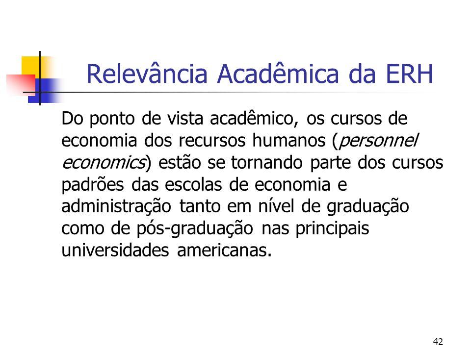 42 Relevância Acadêmica da ERH Do ponto de vista acadêmico, os cursos de economia dos recursos humanos (personnel economics) estão se tornando parte d