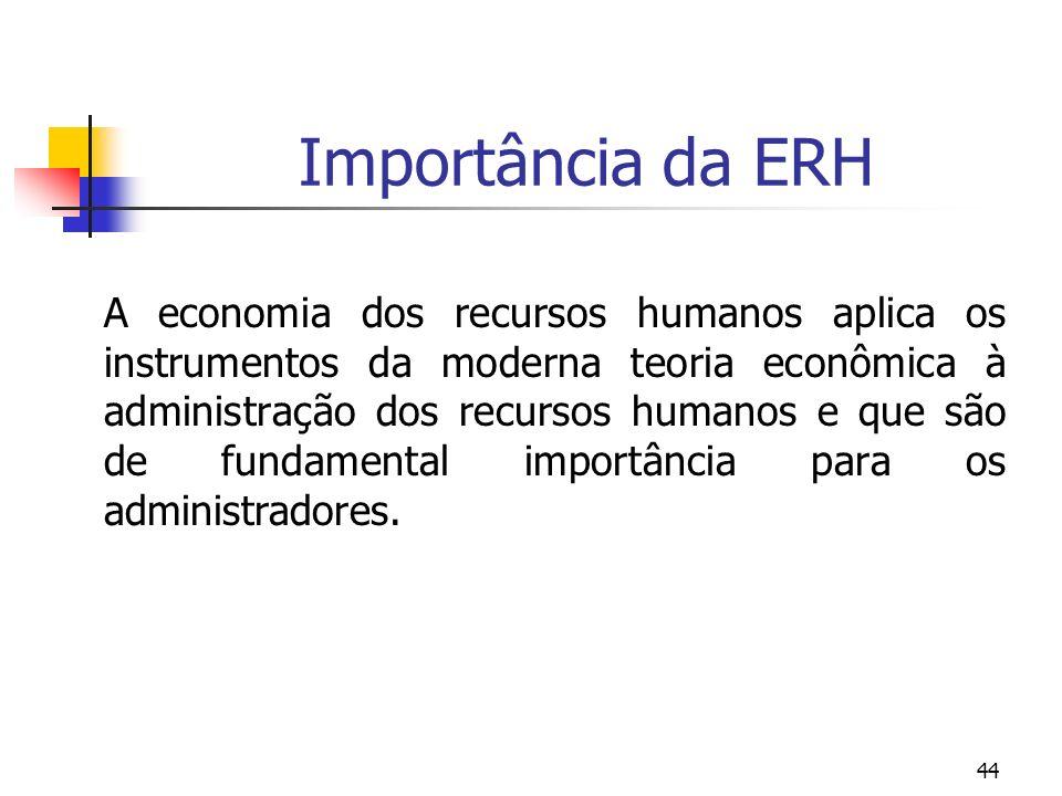 44 Importância da ERH A economia dos recursos humanos aplica os instrumentos da moderna teoria econômica à administração dos recursos humanos e que sã