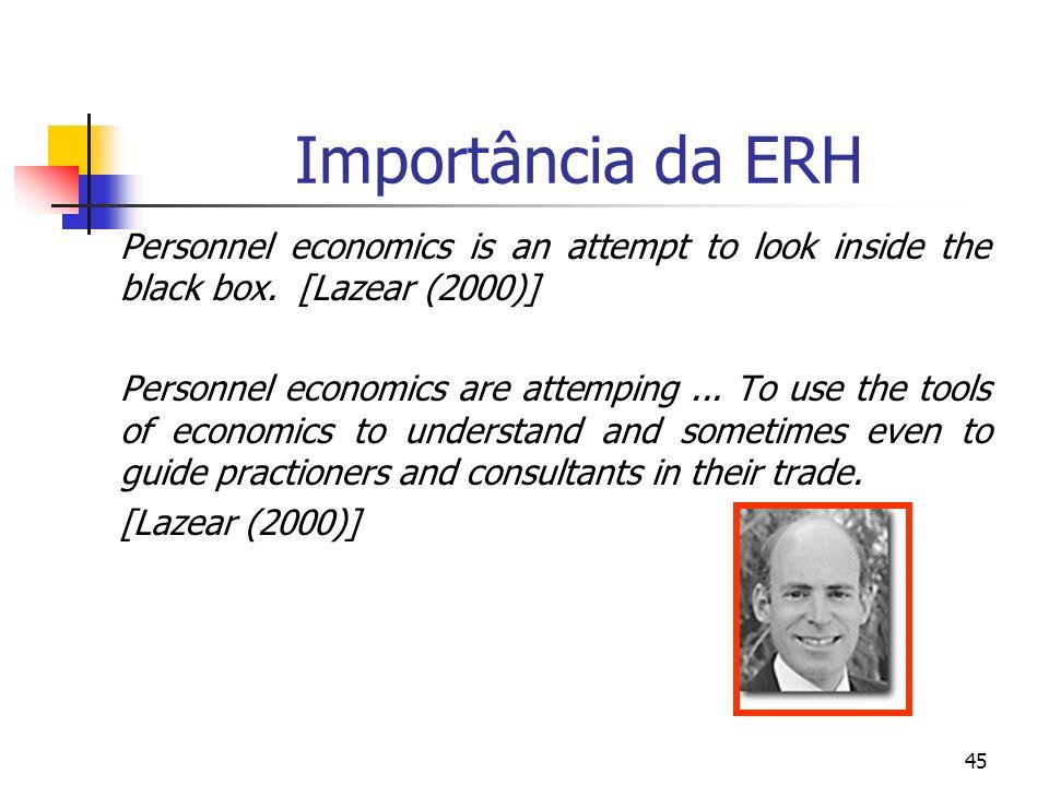 45 Importância da ERH Personnel economics is an attempt to look inside the black box. [Lazear (2000)] Personnel economics are attemping... To use the