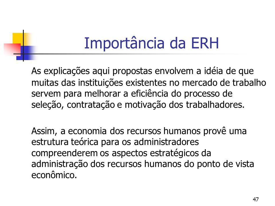 47 Importância da ERH As explicações aqui propostas envolvem a idéia de que muitas das instituições existentes no mercado de trabalho servem para melh