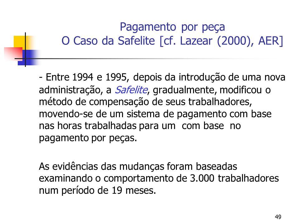 49 Pagamento por peça O Caso da Safelite [cf. Lazear (2000), AER] - Entre 1994 e 1995, depois da introdução de uma nova administração, a Safelite, gra
