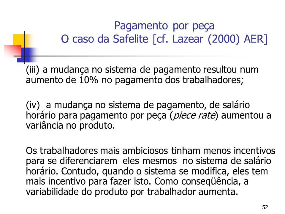 52 Pagamento por peça O caso da Safelite [cf. Lazear (2000) AER] (iii) a mudança no sistema de pagamento resultou num aumento de 10% no pagamento dos