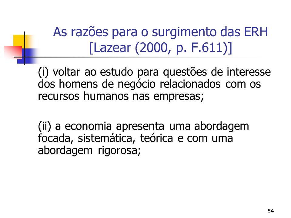 54 As razões para o surgimento das ERH [Lazear (2000, p. F.611)] (i) voltar ao estudo para questões de interesse dos homens de negócio relacionados co