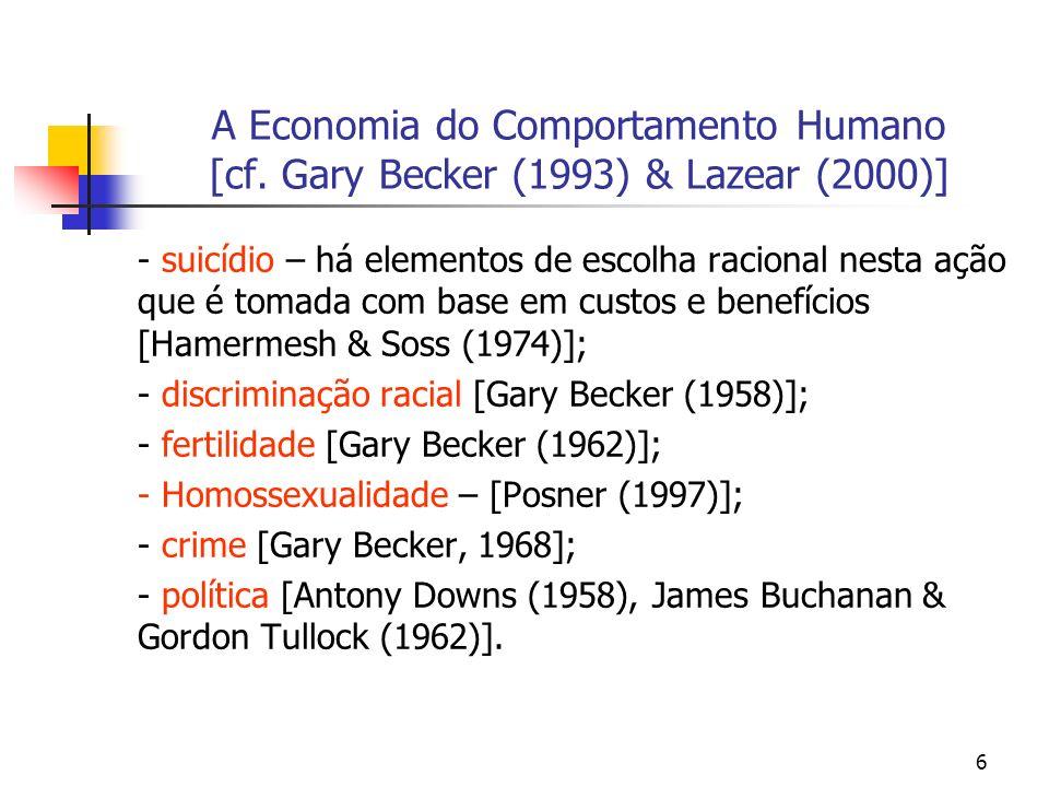 6 A Economia do Comportamento Humano [cf. Gary Becker (1993) & Lazear (2000)] - suicídio – há elementos de escolha racional nesta ação que é tomada co