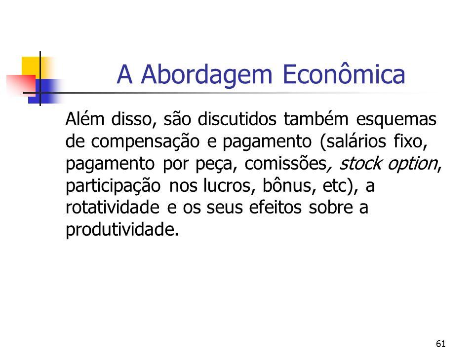 61 A Abordagem Econômica Além disso, são discutidos também esquemas de compensação e pagamento (salários fixo, pagamento por peça, comissões, stock op
