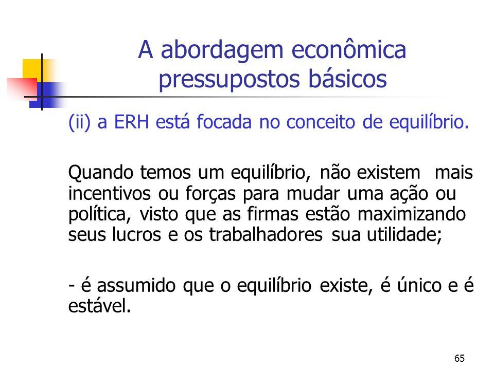 65 A abordagem econômica pressupostos básicos (ii) a ERH está focada no conceito de equilíbrio. Quando temos um equilíbrio, não existem mais incentivo