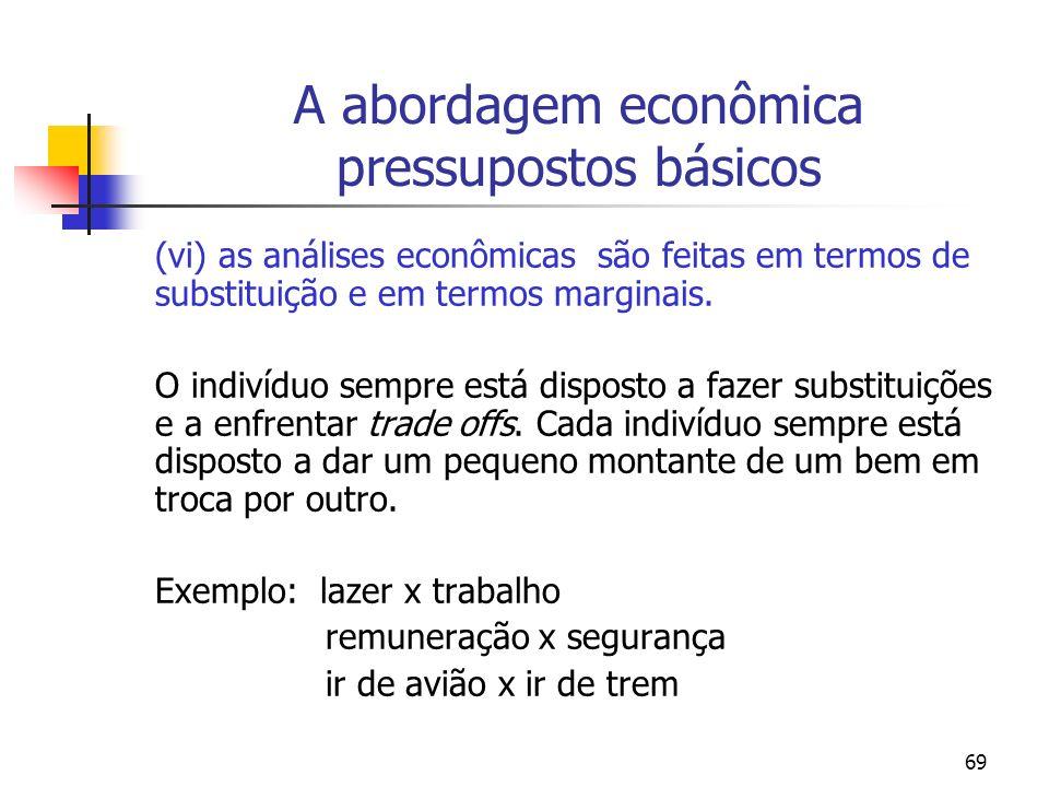 69 A abordagem econômica pressupostos básicos (vi) as análises econômicas são feitas em termos de substituição e em termos marginais. O indivíduo semp