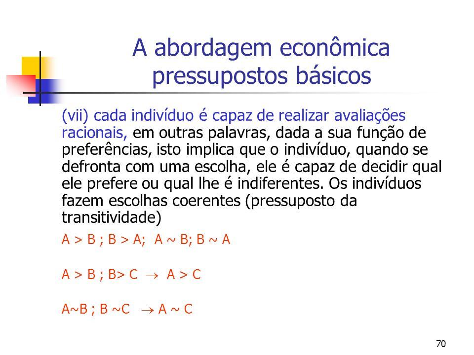 70 A abordagem econômica pressupostos básicos (vii) cada indivíduo é capaz de realizar avaliações racionais, em outras palavras, dada a sua função de