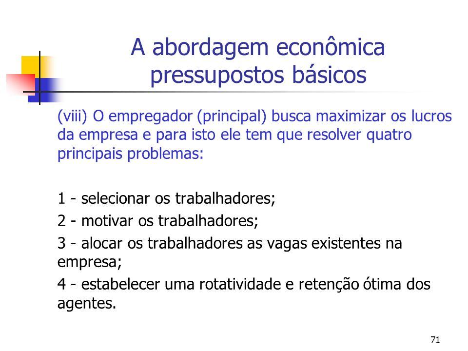 71 A abordagem econômica pressupostos básicos (viii) O empregador (principal) busca maximizar os lucros da empresa e para isto ele tem que resolver qu