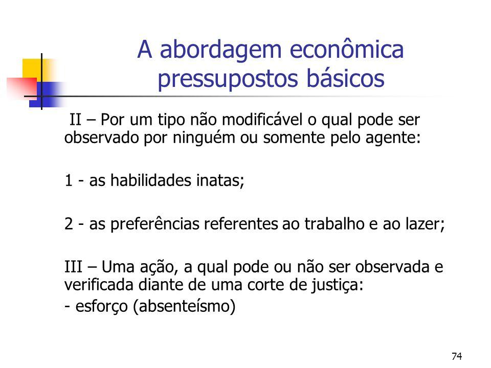 74 A abordagem econômica pressupostos básicos II – Por um tipo não modificável o qual pode ser observado por ninguém ou somente pelo agente: 1 - as ha