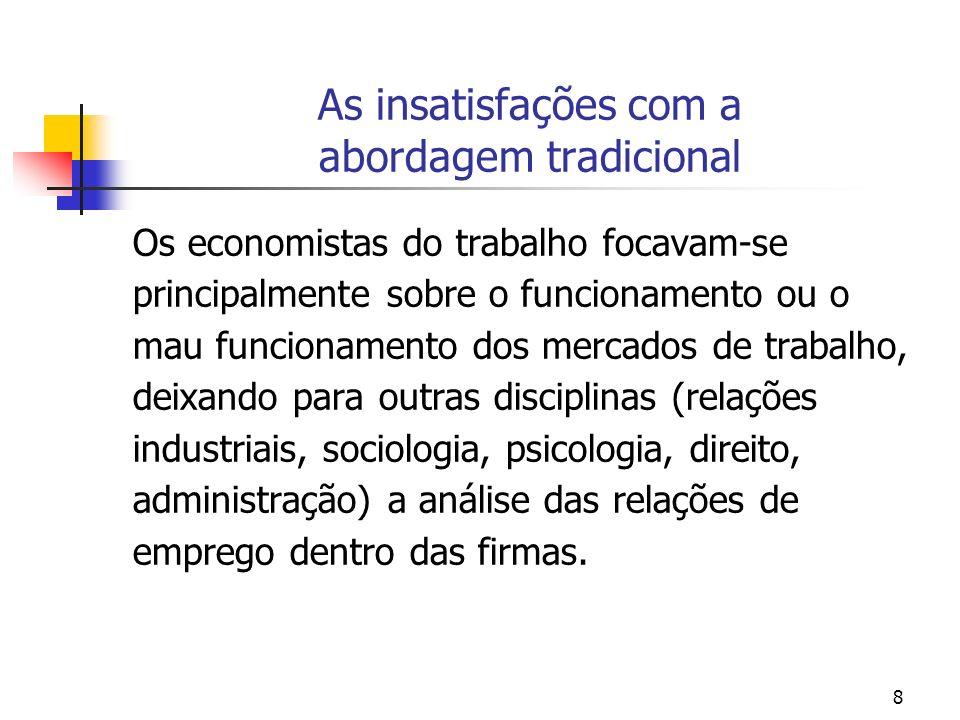 8 As insatisfações com a abordagem tradicional Os economistas do trabalho focavam-se principalmente sobre o funcionamento ou o mau funcionamento dos m