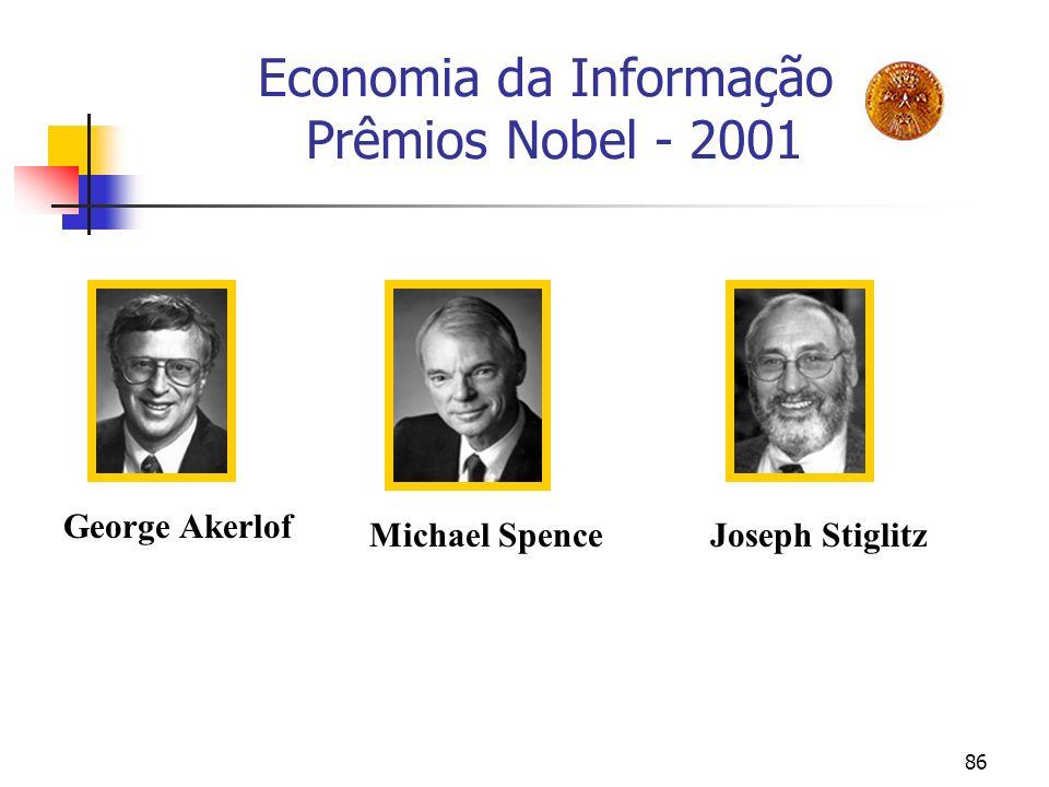 86 Economia da Informação Prêmios Nobel - 2001 George Akerlof Michael SpenceJoseph Stiglitz