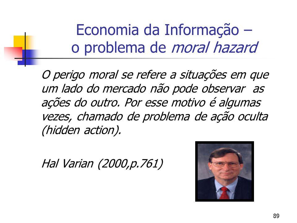 89 Economia da Informação – o problema de moral hazard O perigo moral se refere a situações em que um lado do mercado não pode observar as ações do ou