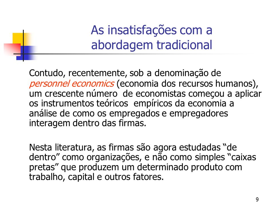 10 As insatisfações com a abordagem tradicional The theory of production describes how much labor is to be hired, how it should be coupled with capital, how its use should vary with wages, and so forth.