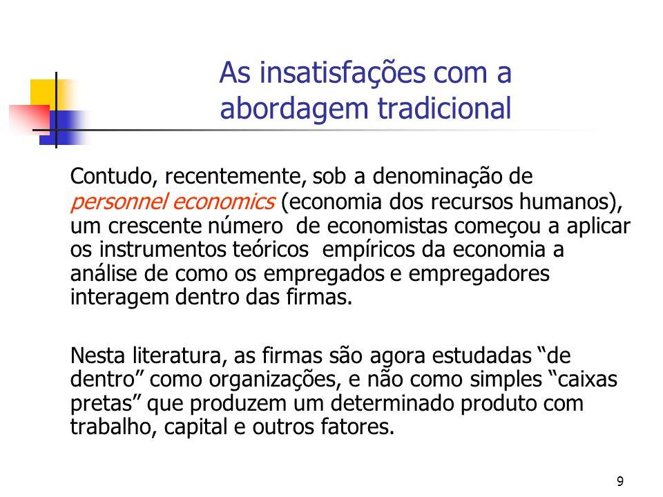 9 As insatisfações com a abordagem tradicional Contudo, recentemente, sob a denominação de personnel economics (economia dos recursos humanos), um cre