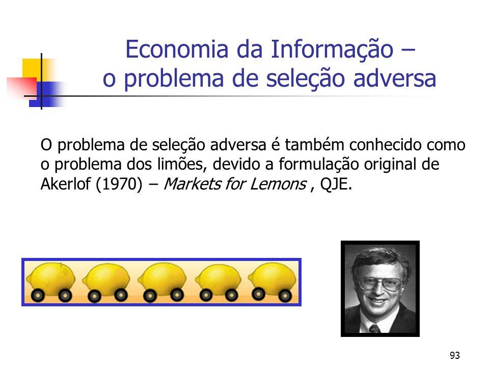 93 Economia da Informação – o problema de seleção adversa O problema de seleção adversa é também conhecido como o problema dos limões, devido a formul