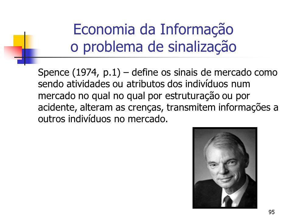 95 Economia da Informação o problema de sinalização Spence (1974, p.1) – define os sinais de mercado como sendo atividades ou atributos dos indivíduos