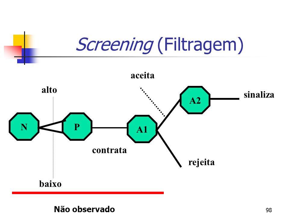 98 Screening (Filtragem) NP A1 A2 baixo alto contrata rejeita aceita sinaliza Não observado