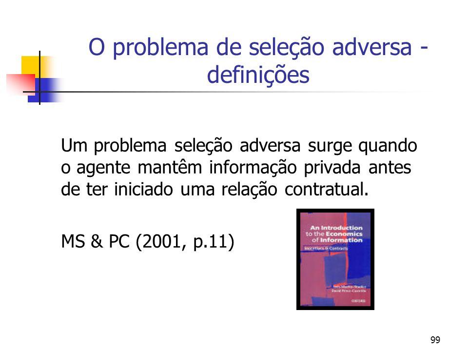 99 O problema de seleção adversa - definições Um problema seleção adversa surge quando o agente mantêm informação privada antes de ter iniciado uma re