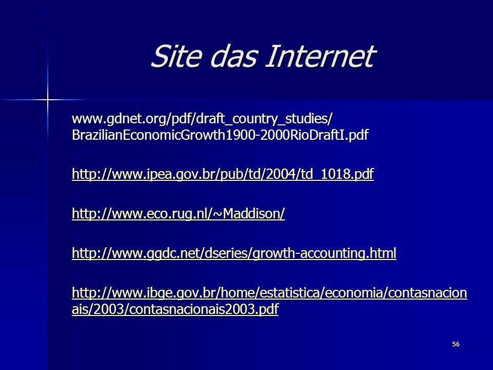 56 Site das Internet www.gdnet.org/pdf/draft_country_studies/ BrazilianEconomicGrowth1900-2000RioDraftI.pdf http://www.ipea.gov.br/pub/td/2004/td_1018.pdf http://www.eco.rug.nl/~Maddison/ http://www.ggdc.net/dseries/growth-accounting.html http://www.ibge.gov.br/home/estatistica/economia/contasnacion ais/2003/contasnacionais2003.pdf http://www.ibge.gov.br/home/estatistica/economia/contasnacion ais/2003/contasnacionais2003.pdf