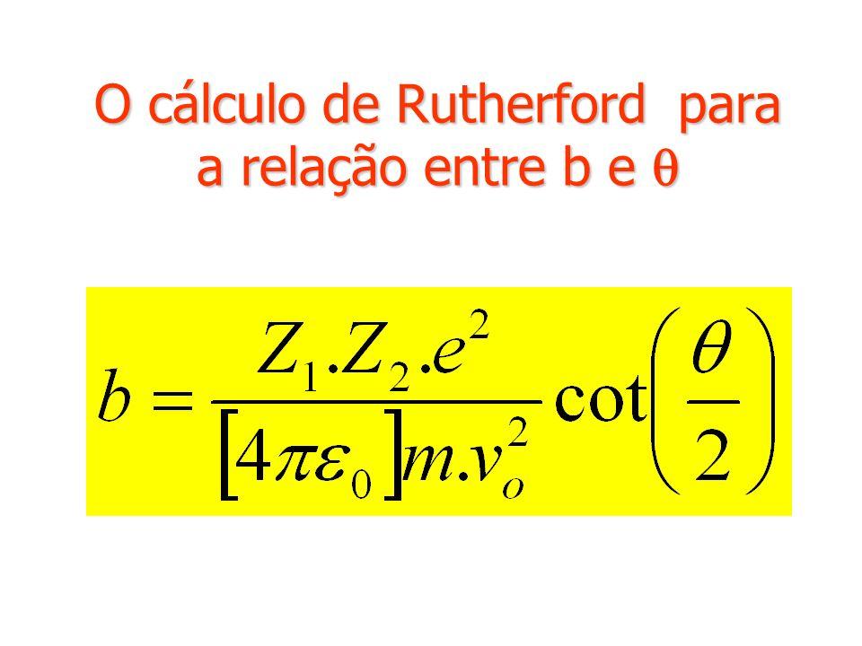 O cálculo de Rutherford para a relação entre b e O cálculo de Rutherford para a relação entre b e