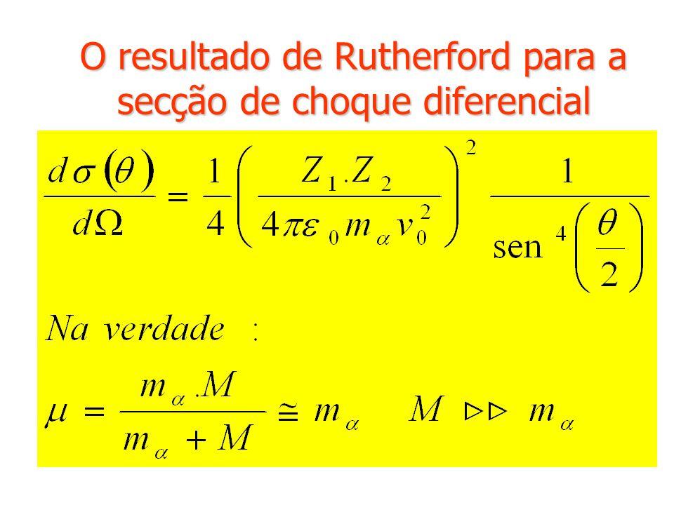 O resultado de Rutherford para a secção de choque diferencial