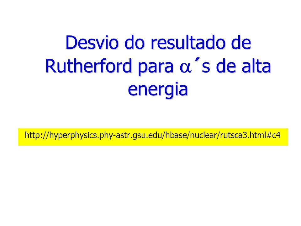 Desvio do resultado de Rutherford para ´ de alta energia Desvio do resultado de Rutherford para ´s de alta energia http://hyperphysics.phy-astr.gsu.ed