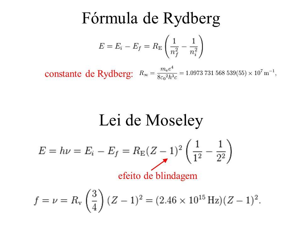 Fórmula de Rydberg Lei de Moseley efeito de blindagem constante de Rydberg: