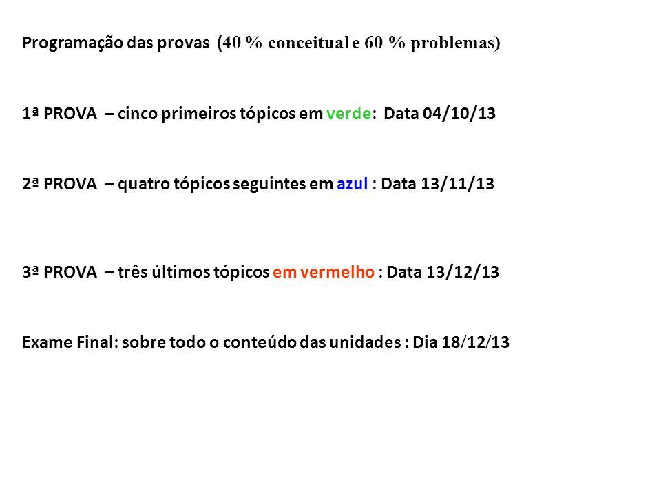 Programação das provas ( 40 % conceitual e 60 % problemas) 1ª PROVA – cinco primeiros tópicos em verde: Data 04/10/13 2ª PROVA – quatro tópicos seguin