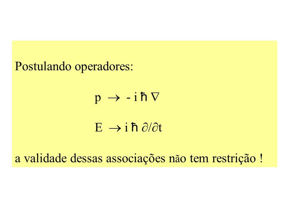 Postulando operadores: p - i ħ E i ħ t a validade dessas associações n ã o tem restrição !