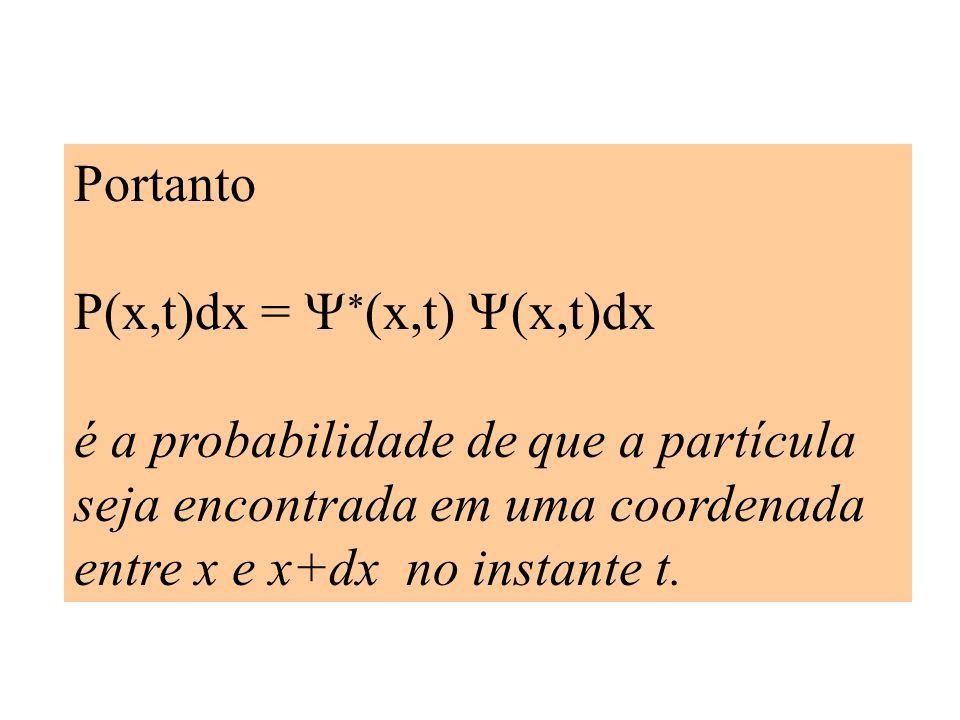 Portanto P(x,t)dx = (x,t) (x,t)dx é a probabilidade de que a partícula seja encontrada em uma coordenada entre x e x+dx no instante t.