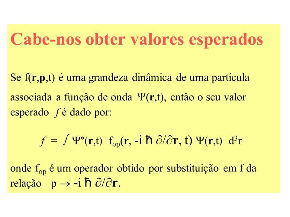 Cabe-nos obter valores esperados Se f(r,p,t) é uma grandeza dinâmica de uma partícula associada a função de onda (r,t), então o seu valor esperado f é