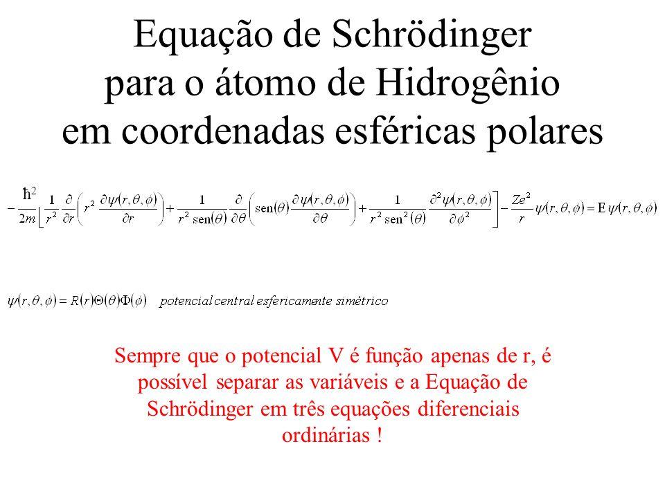 Equação de Schrödinger para o átomo de Hidrogênio em coordenadas esféricas polares Sempre que o potencial V é função apenas de r, é possível separar a
