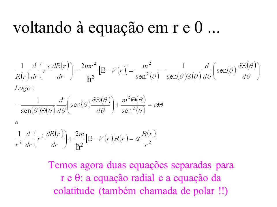 voltando à equação em r e... Temos agora duas equações separadas para r e : a equação radial e a equação da colatitude (também chamada de polar !!) ħ2