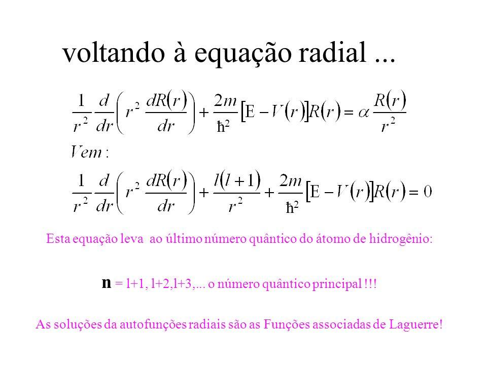 voltando à equação radial... Esta equação leva ao último número quântico do átomo de hidrogênio: n = l+1, l+2,l+3,... o número quântico principal !!!
