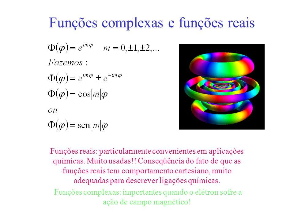 Funções complexas e funções reais Funções reais: particularmente convenientes em aplicações químicas. Muito usadas!! Conseqüência do fato de que as fu