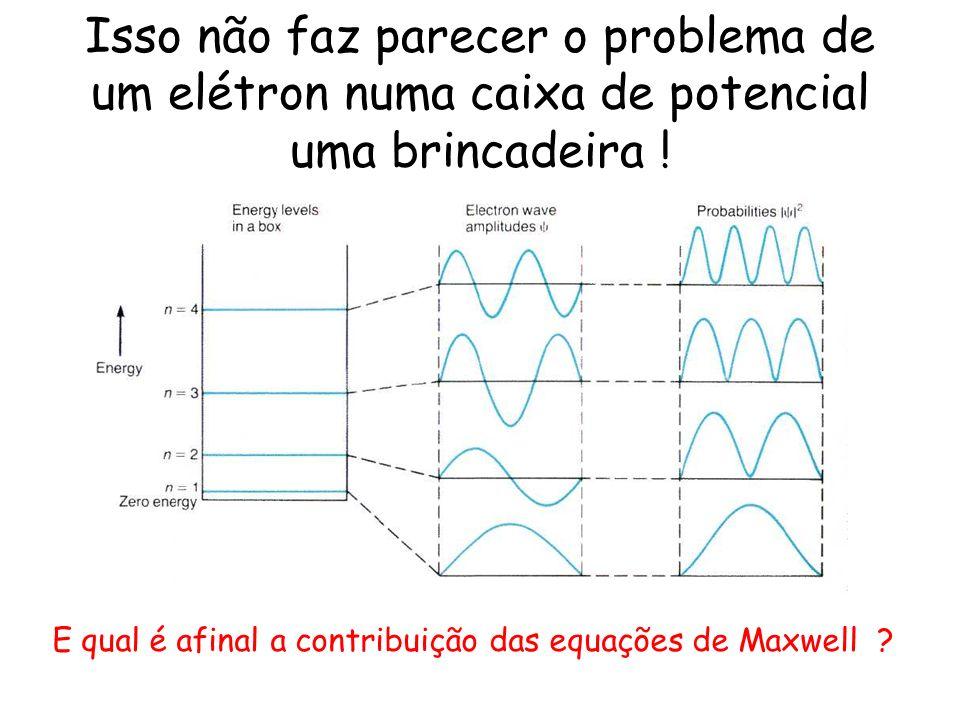 Isso não faz parecer o problema de um elétron numa caixa de potencial uma brincadeira ! E qual é afinal a contribuição das equações de Maxwell ?