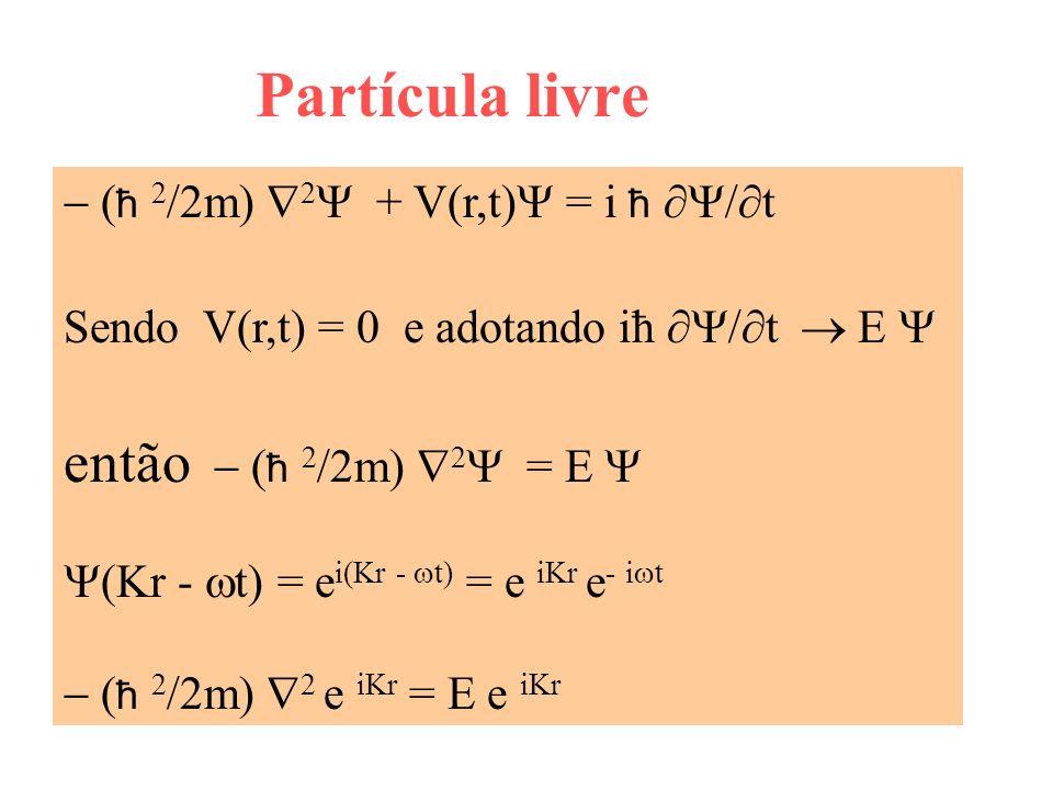 Partícula livre ħ 2 /2m) 2 + V(r,t) = i ħ t Sendo V(r,t) = 0 e adotando iħ t E então ħ 2 /2m) 2 = E (Kr - t) = e i(Kr - t) = e iKr e - i t ħ 2 /2m) 2