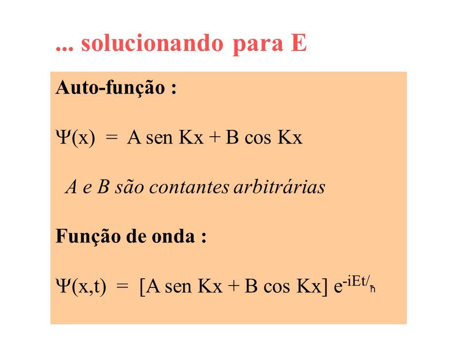 ... solucionando para E Auto-função : (x) = A sen Kx + B cos Kx A e B são contantes arbitrárias Função de onda : (x,t) = [A sen Kx + B cos Kx] e -iEt/