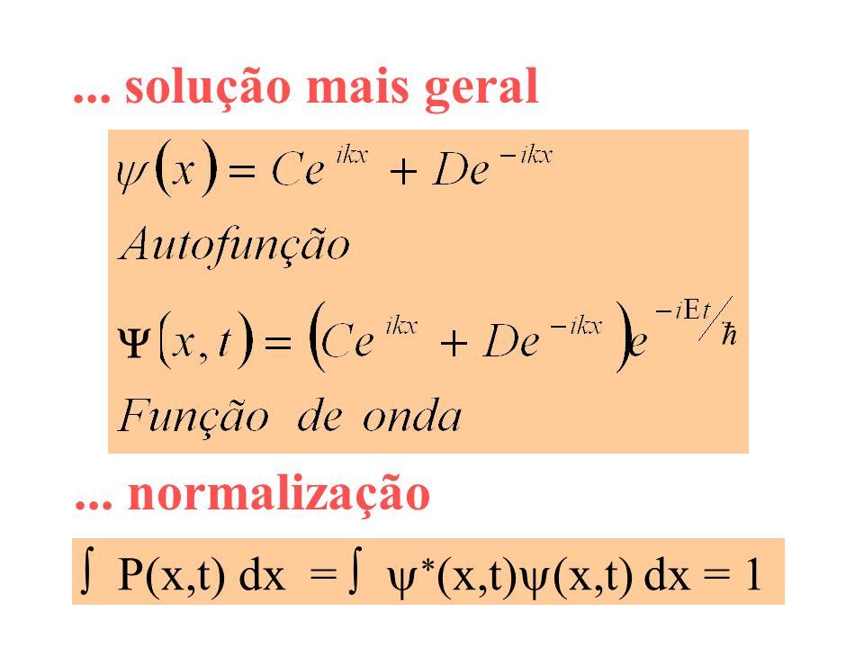 ... solução mais geral P(x,t) dx = (x,t) (x,t) dx = 1... normalização ħ
