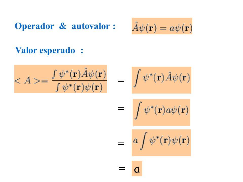 Operador & autovalor : = Valor esperado : = = = a