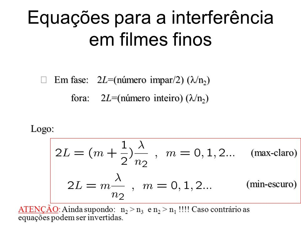Equações para a interferência em filmes finos Logo: Em fase: 2L=(número impar/2) ( /n 2 ) Em fase: 2L=(número impar/2) ( /n 2 ) fora: 2L=(número intei