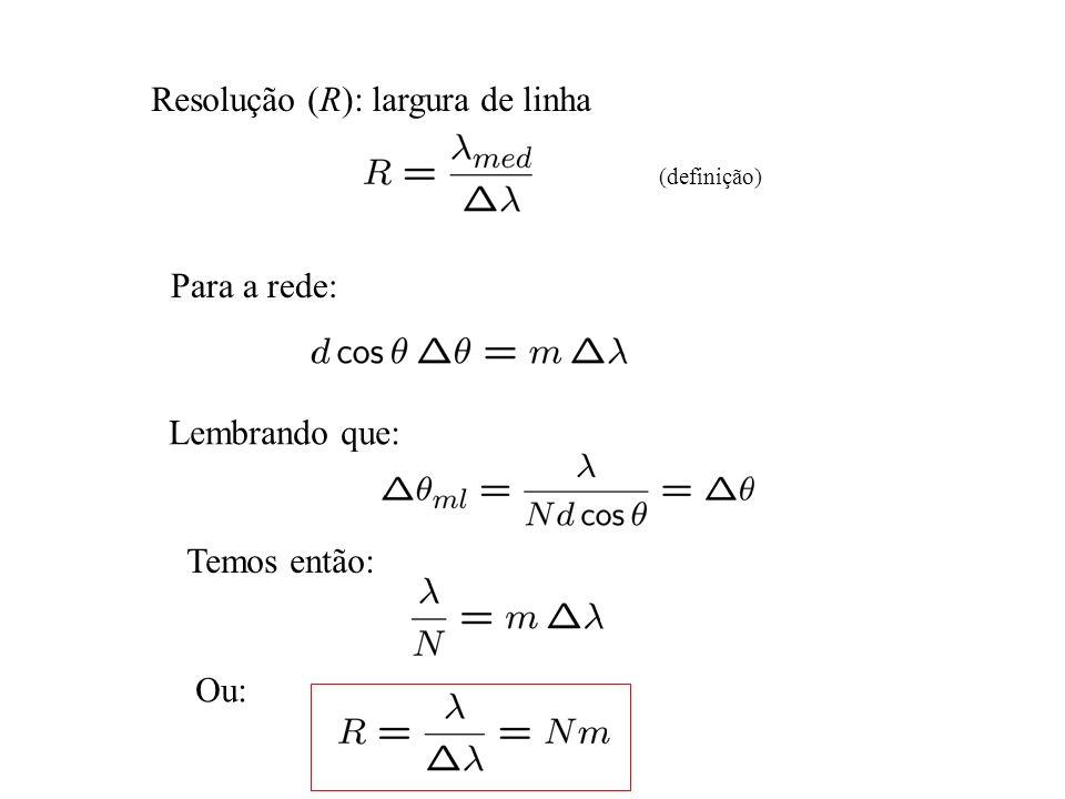 Resolução (R): largura de linha (definição) Para a rede: Lembrando que: Temos então: Ou: