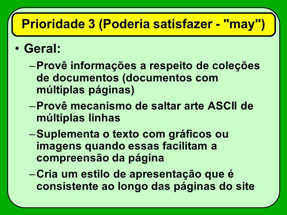 Geral: –Provê informações a respeito de coleções de documentos (documentos com múltiplas páginas) –Provê mecanismo de saltar arte ASCII de múltiplas l